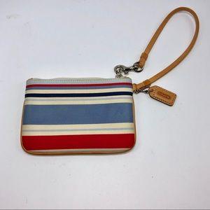 Coach blue red stripe wristlet